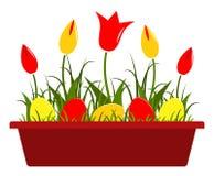 Tulpen en paaseieren Royalty-vrije Stock Afbeeldingen