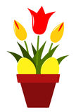 Tulpen en paaseieren Stock Fotografie