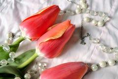 Tulpen en parels Stock Afbeeldingen