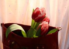 Tulpen en vrouwen` s zak Stock Afbeeldingen
