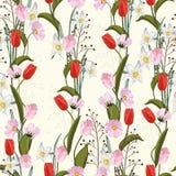 Tulpen Hand getrokken naadloze vectortextuur Bloemenpatroon met verschillend soort bloemen royalty-vrije illustratie