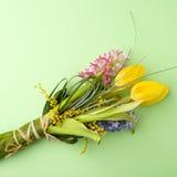 Tulpen, Hyazinthe über grünem Hintergrund Lizenzfreie Stockbilder