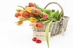 Tulpen im Korb Lizenzfreies Stockbild