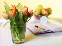 Tulpen met een notitieboekje - Stock Foto's