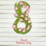 Tulpen met 8 maart Eps 10 Stock Foto's