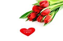 Tulpen mit Liebe Stockbild