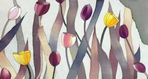 Tulpen op grijze achtergrond Stock Foto's
