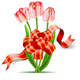Tulpen und Bogen Stockbild