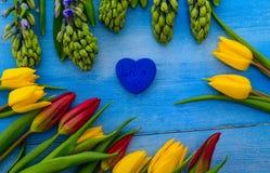 Tulpen und Hyazinthen Stockbild