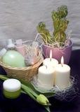 Tulpen und Kerzen Stockbilder