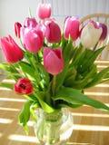 Tulpen in vaas royalty-vrije stock foto's