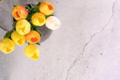 Tulpenbloem in de glaskruik met van het achtergrond barst wit cement de lenteconcept royalty-vrije stock foto's