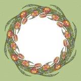 Tulpenblumenrahmen-Vektorillustration Hand gezeichneter Naturhintergrund Dekorativer mit Blumenrand Stockbild