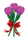 Tulpenblumenstrauß mit rotem Bogen Stockbild