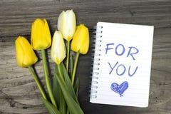 Tulpenboeket en blocnote met woorden voor u Stock Afbeelding