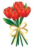 Tulpenboeket met boog Royalty-vrije Stock Afbeeldingen