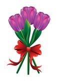 Tulpenboeket met rode boog Stock Afbeelding
