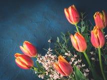 Tulpenboeket op de donkere kaart van de achtergronduitnodigingsgroet Royalty-vrije Stock Foto's