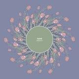 Tulpenrahmen-Vektorillustration Die gezeichnete Hand blüht Hintergrund Dekorativer mit Blumenrand Lizenzfreie Stockfotografie
