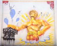 Tulsa-Bohrer-Graffiti-Wand Lizenzfreies Stockfoto