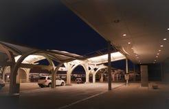 Tulsa International Airport exterior at night. Tulsa, Oklahoma airport, located at 7777 East Apache, Tulsa, Oklahoma. Flights within the United States with stock image