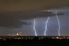 Tulsa Lightning. Lightning strikes near downtown Tulsa during a late season thunderstorm Stock Photography