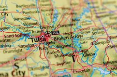 Tulsa, Oklahoma on map. Close up shot of Tulsa, Oklahoma on a map Stock Images