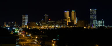Tulsa Oklahoma Night Skyline. Night time view of downtown Tulsa, OK from the east.  Shows 11th street looking west toward the city. Tulsa is known for its art Stock Photo