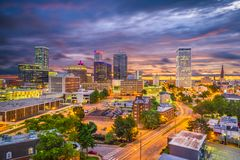 Tulsa, Oklahoma, USA Skyline. At twilight royalty free stock photography