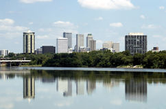 Tulsa Skyline. Skyline view of the city of Tulsa, Oklahoma with buildings reflected in the Arkansas River Royalty Free Stock Image