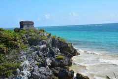 Tulu Archeologische Plaats Quintana Roo Mexico royalty-vrije stock foto's