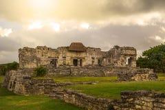 Tulum古老玛雅人考古学站点在尤加坦墨西哥 库存图片