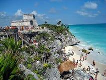Tulum废墟在墨西哥在一个晴天 库存图片
