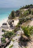 Tulum海滩尤加坦墨西哥 免版税库存照片