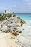 Tulum著名考古学废墟在墨西哥 免版税库存图片