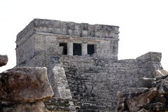 Tulum,墨西哥城堡的废墟  免版税库存图片