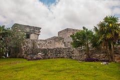 Tulum, Майя Ривьеры, Юкатан, Мексика: Величественные руины в Tulum Tulum курортный город на побережье Mexicos Вест-Индии стоковая фотография rf