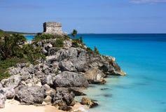 Tulum 1. Mexico Quintana Roo Tulum Mayan ruins overlooking a beautiful turquoise Caribbean Sea Stock Photo
