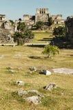 卡斯蒂略堡垒在古老玛雅市Tulum 库存照片