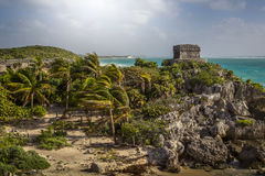 Tulum Ancient Maya Archeological Site in Yucatan Mexico. View from a distance stock photos