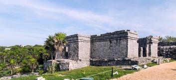Tulum ancient stone house;Gatekeeper Royalty Free Stock Photo