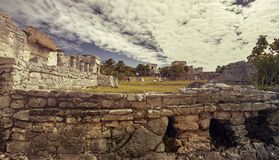 Tulum archaeological site in mexico royalty free stock photography