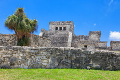 Tulum, archeological site in the Riviera Maya, Mexico. Site of a Pre-Columbian Maya walled city serving as a major port for Cob royalty free stock photo