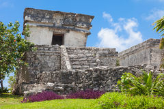 Tulum, archeological site in the Riviera Maya, Mexico. Site of a Pre-Columbian Maya walled city serving as a major port for Cob royalty free stock photography