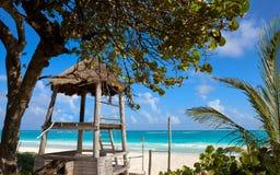 Tulum baywatch tower beach in Riviera Maya. Of Mayan Mexico Royalty Free Stock Photos