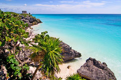 Tulum 03. Beach and clear blue water of tulum stock photography
