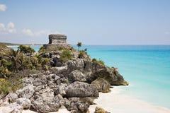 Tulum beach with Maya temple Royalty Free Stock Photos