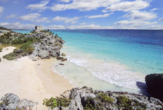 Tulum beach, Mexico. Tulum mayan ruins in Yucatan, Mexico Royalty Free Stock Image