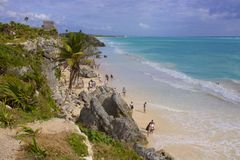 Tulum beach, Mexico. Tulum -maya ruins and beach, Mexico royalty free stock images