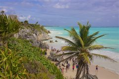 Tulum beach, Mexico. Tulum -maya ruins and beach, Mexico royalty free stock photo